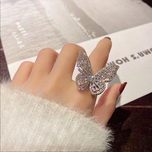 18k White Gold Huge butterfly Diamond Ring